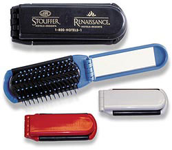 Custom imprinted KWIK-FIX Folding Brush with Mirror