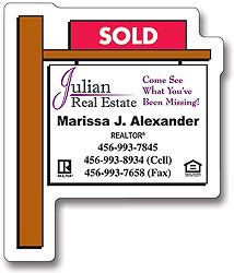 Custom imprinted Real Estate Sold Sign Shape Magnet