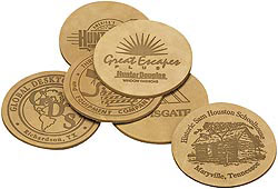 Custom imprinted Branded Buffed Leather Large Bulk Coasters