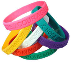 Custom imprinted Stock Silicone Awareness Bracelet