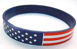 Custom imprinted American Flag Stock Silicone Bracelet