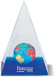 Custom imprinted Pyramid Globe Paperweight