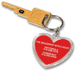 Custom imprinted Acrylic Heart Key Tag
