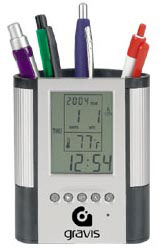 Custom imprinted Pen Cup, LCD Digital Alarm Clock & Thermometer