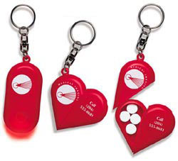 Custom imprinted Heart Light Key Tag
