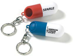 Custom imprinted Capsule Pill Holder Key Ring