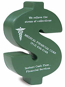 Custom imprinted Dollar Sign Stress Reliever