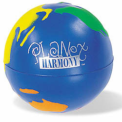Custom imprinted Multi-Color Globall Stress Reliever