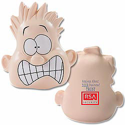 Custom imprinted Shocked Mood Dude Stress Reliever