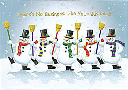 Custom imprinted Holiday Greeting Card - Dancing Snowmen