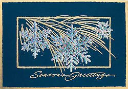 Custom imprinted Holiday Greeting Card - Glistening Snowflakes