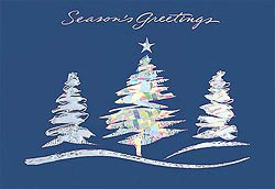 Custom imprinted Holiday Greeting Card - Sparkling Fir Trees