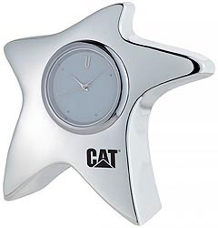Custom imprinted Silver Plated Star Clock Paperweight