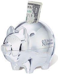 Custom imprinted Silver Plated Piggy Bank