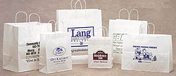 Custom imprinted White Kraft Shopping Bags