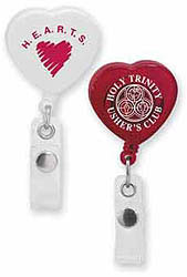 Custom imprinted Caring Heart Retractable Badge Holder