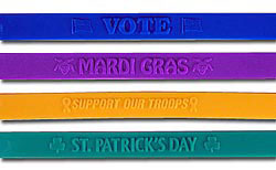 Custom imprinted Embossed Stock Wristbands