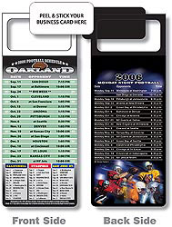 Custom imprinted Magnetic NFL Football Schedule - Oakland Raiders