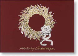 Custom imprinted Holiday Greeting Card - Berry Wreath