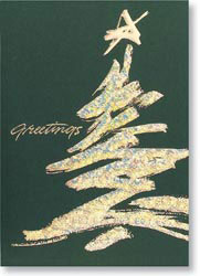 Custom imprinted Holiday Greeting Card - Shimmering Evergreen