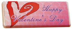 Custom imprinted Chocolate Bar with Stock Valentine Wrapper