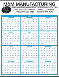 Custom imprinted Full Year View Single Sheet Wall Calendar