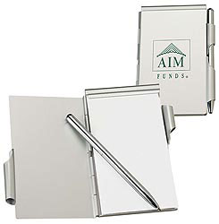 Custom imprinted Aluminum Jotter Pad with Pen