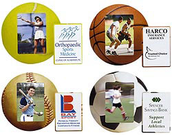 Custom imprinted Sports Ball Photo Frame Magnet