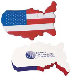 Custom imprinted USA Map Stress Reliever