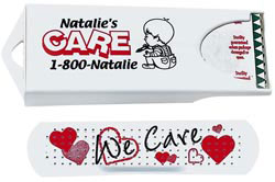 Custom imprinted White Dispenser with Heart Bandage