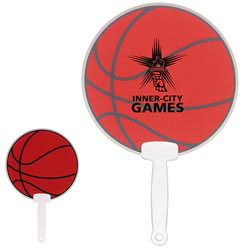 Custom imprinted CLOSEOUT Basketball Sports Fan with Plastic Handle
