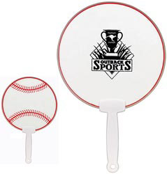 Custom imprinted CLOSEOUT Baseball Sports Fan with Plastic Handle