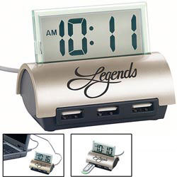 Custom imprinted 3 Port Hub with LCD Clock (Promotional Product)