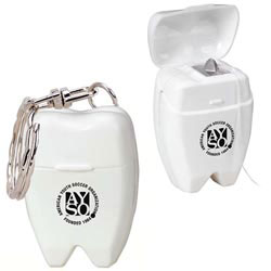 Custom imprinted Mini Tooth Dental Floss Keychain