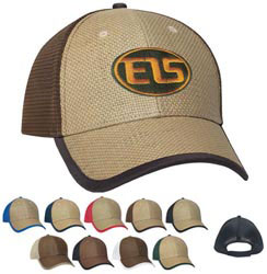 Custom imprinted Straw Front with Soft Mesh Back Cap - Embroidered
