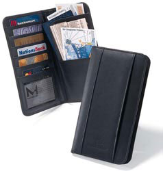 Custom imprinted CLOSEOUT Leather Travel Wallet