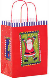 Custom imprinted Santa Paper Shopper Bag