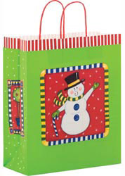 Custom imprinted Snowman Paper Shopper Bag