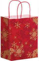 Custom imprinted Snowflake Paper Shopper Bag