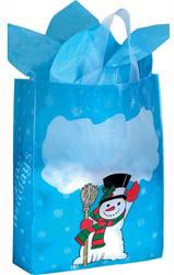 Custom imprinted Snowman Design Frosted Soft Loop Bag