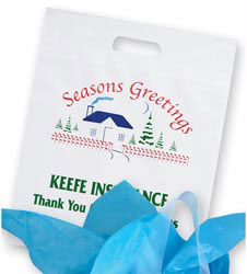 Custom imprinted Season's Greetings Plastic Die Cut Bag