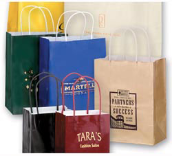 Custom imprinted Gloss Colored Shopper Bag with Foil Stamp