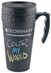 Custom imprinted Black Chalkboard Travel Mug - 16 ounce