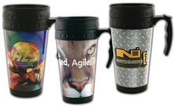 Custom imprinted Nitrous SpectraMetal Full Color Travel Mug - 16oz.