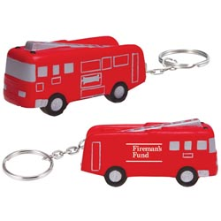 Custom imprinted Fire Truck Key Chain Stress Reliever