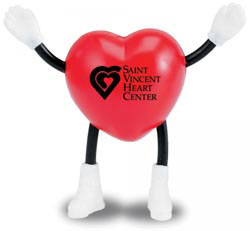 Custom imprinted Heart Man Stress Reliever