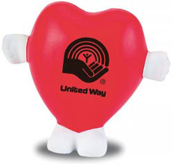 Custom imprinted Standing Heart Stress Reliever
