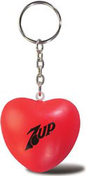 Custom imprinted Heart Key Chain Stress Reliever