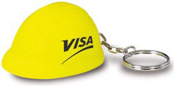 Custom imprinted Hard Hat Key Chain Stress Reliever