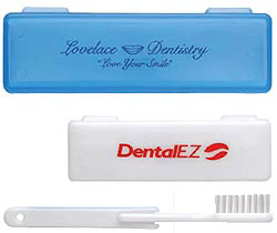 Custom imprinted CLOSEOUT Travel Toothbrush